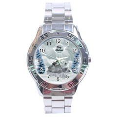 Cute Polar Bear Baby, Merry Christmas Stainless Steel Analogue Watch