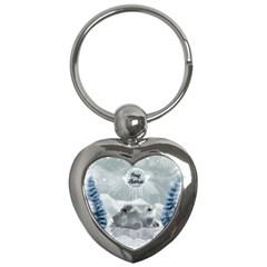 Cute Polar Bear Baby, Merry Christmas Key Chains (heart)