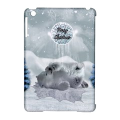Cute Polar Bear Baby, Merry Christmas Apple Ipad Mini Hardshell Case (compatible With Smart Cover)