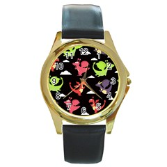 Cute Flying Dragons Round Gold Metal Watch