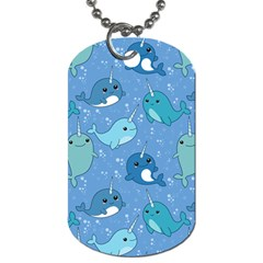Cute Narwhal Pattern Dog Tag (one Side)