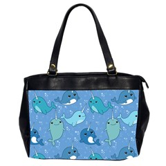 Cute Narwhal Pattern Office Handbags (2 Sides)