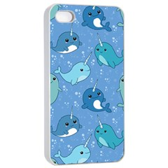 Cute Narwhal Pattern Apple Iphone 4/4s Seamless Case (white)