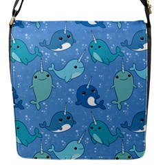 Cute Narwhal Pattern Flap Messenger Bag (s)