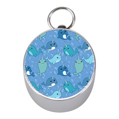 Cute Narwhal Pattern Mini Silver Compasses