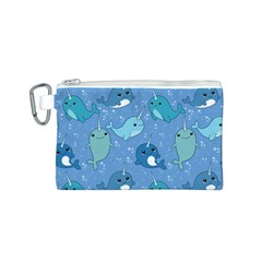 Cute Narwhal Pattern Canvas Cosmetic Bag (s)