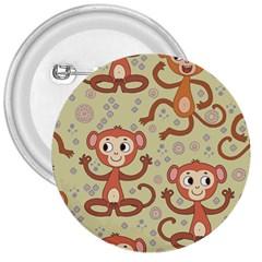 Cute Cartoon Monkeys Pattern 3  Buttons
