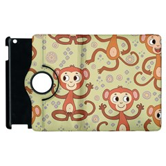 Cute Cartoon Monkeys Pattern Apple Ipad 3/4 Flip 360 Case