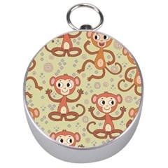 Cute Cartoon Monkeys Pattern Silver Compasses