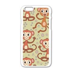 Cute Cartoon Monkeys Pattern Apple Iphone 6/6s White Enamel Case