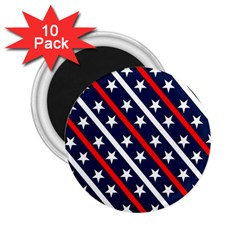 Patriotic Red White Blue Stars 2 25  Magnets (10 Pack)