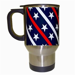 Patriotic Red White Blue Stars Travel Mugs (white)
