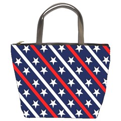 Patriotic Red White Blue Stars Bucket Bags