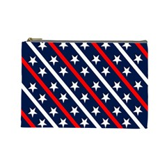 Patriotic Red White Blue Stars Cosmetic Bag (large)