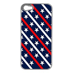 Patriotic Red White Blue Stars Apple Iphone 5 Case (silver)
