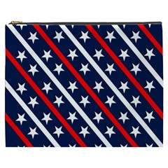 Patriotic Red White Blue Stars Cosmetic Bag (xxxl)