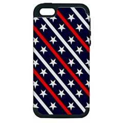 Patriotic Red White Blue Stars Apple Iphone 5 Hardshell Case (pc+silicone)