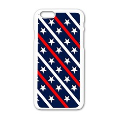 Patriotic Red White Blue Stars Apple Iphone 6/6s White Enamel Case