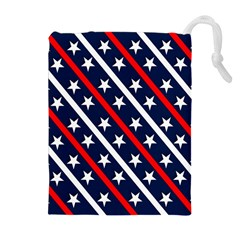 Patriotic Red White Blue Stars Drawstring Pouches (extra Large)