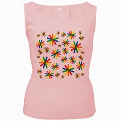 Celebrate Pattern Colorful Design Women s Pink Tank Top
