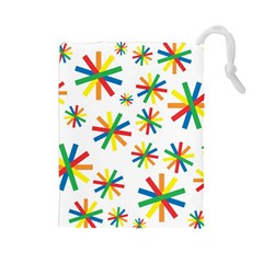 Celebrate Pattern Colorful Design Drawstring Pouches (large)