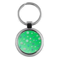 Snowflakes Winter Christmas Overlay Key Chains (round)
