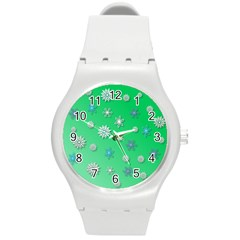Snowflakes Winter Christmas Overlay Round Plastic Sport Watch (m)