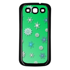 Snowflakes Winter Christmas Overlay Samsung Galaxy S3 Back Case (black)
