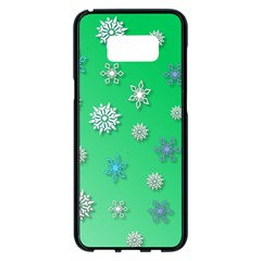 Snowflakes Winter Christmas Overlay Samsung Galaxy S8 Plus Black Seamless Case