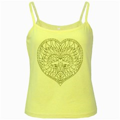 Heart Love Valentines Day Yellow Spaghetti Tank