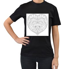 Heart Love Valentines Day Women s T Shirt (black) (two Sided)