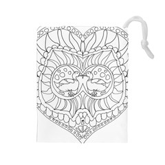 Heart Love Valentines Day Drawstring Pouches (large)