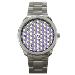 Bat And Ghost Halloween Lilac Paper Pattern Sport Metal Watch