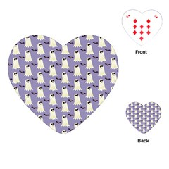 Bat And Ghost Halloween Lilac Paper Pattern Playing Cards (heart)