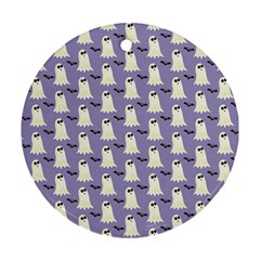 Bat And Ghost Halloween Lilac Paper Pattern Round Ornament (two Sides)