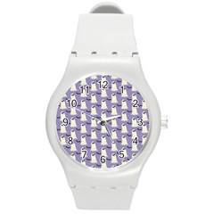 Bat And Ghost Halloween Lilac Paper Pattern Round Plastic Sport Watch (m)