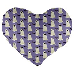 Bat And Ghost Halloween Lilac Paper Pattern Large 19  Premium Heart Shape Cushions