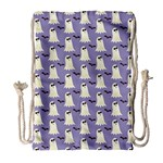 Bat And Ghost Halloween Lilac Paper Pattern Drawstring Bag (Large) Front