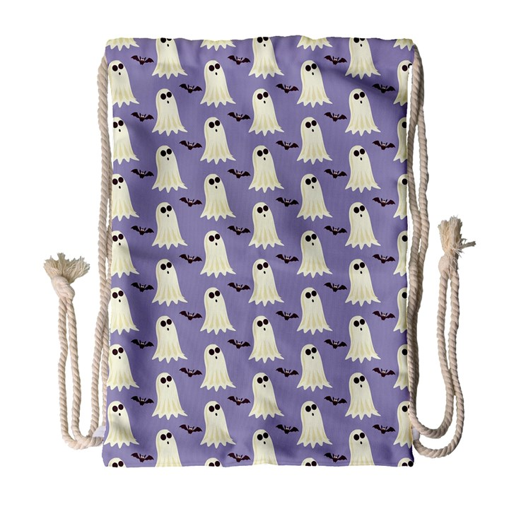 Bat And Ghost Halloween Lilac Paper Pattern Drawstring Bag (Large)