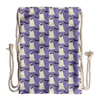 Bat And Ghost Halloween Lilac Paper Pattern Drawstring Bag (Large) Back