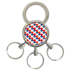 Geometric Design Red White Blue 3 Ring Key Chains