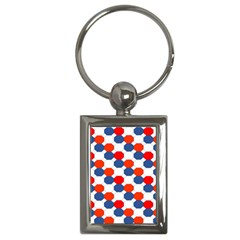 Geometric Design Red White Blue Key Chains (rectangle)