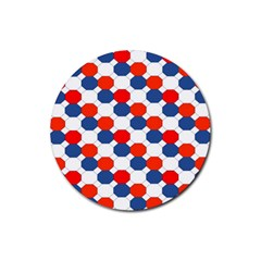 Geometric Design Red White Blue Rubber Round Coaster (4 Pack)