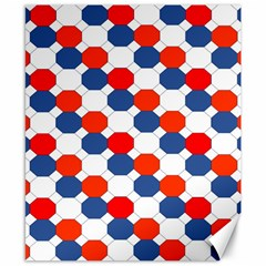 Geometric Design Red White Blue Canvas 8  X 10