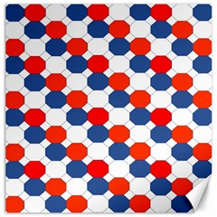 Geometric Design Red White Blue Canvas 12  X 12