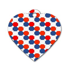 Geometric Design Red White Blue Dog Tag Heart (one Side)