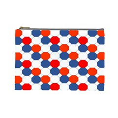 Geometric Design Red White Blue Cosmetic Bag (large)