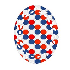 Geometric Design Red White Blue Oval Filigree Ornament (two Sides)