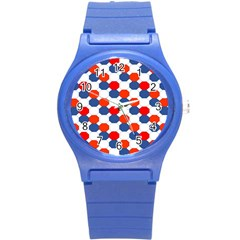 Geometric Design Red White Blue Round Plastic Sport Watch (s)