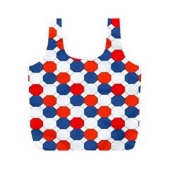 Geometric Design Red White Blue Full Print Recycle Bags (m)
